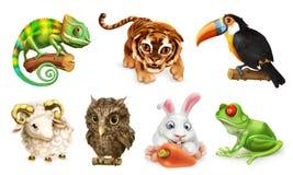 zwierzęcy śmieszny set 3d ikona wektor ilustracji