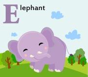 Zwierzęcy abecadło dla dzieciaków: E dla słonia Obrazy Stock