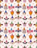zwierzęcy kreskówki głowy przyjęcia wzór bezszwowy Fotografia Stock