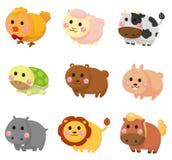 zwierzęcy kreskówki ikony set Fotografia Royalty Free