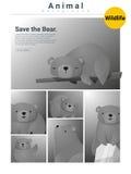 Zwierzęcy tło z niedźwiedziami 3 Zdjęcia Royalty Free