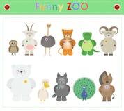 Zwierzęcy zoo, rozdziela trzy Śmiesznego małego pluszowego zwierzęcia kreskówka Vecto Obrazy Stock
