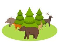 Zwierzęta żyje w Eurasia ilustracja wektor