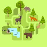 Zwierzęta żyje w Eurasia ilustracji
