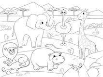 Zwierzęta Afryka kolorystyki sawannowy wektor dla dorosłych Fotografia Stock