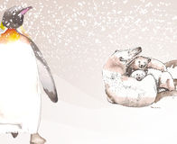 Zwierzęta Antarktyczny wykonujący w akwareli Obraz Stock