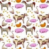 Zwierzęta gospodarskie bezszwowy wzór na białym tle royalty ilustracja