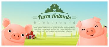 Zwierzęta gospodarskie i Wiejski krajobrazowy tło z świniami ilustracji