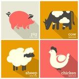 Zwierzęta gospodarskie ikona Cakle, krowa, świnia, kurczak ikony Zdjęcie Stock