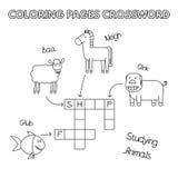 Zwierzęta Gospodarskie kolorystyki książki Crossword Fotografia Stock