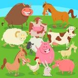 Zwierzęta gospodarskie na łąkowej kreskówki ilustraci Obrazy Stock