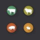 Zwierzęta gospodarskie sylwetki kolekcja Bydlę ikony set Zdjęcia Stock