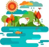 Zwierzęta i Narure tło ilustracji