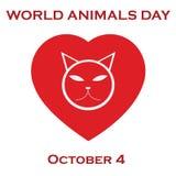 Zwierzęta na planecie, zwierzęcy schronienie Światowy zwierzęcy ` s dzień Zdjęcia Royalty Free