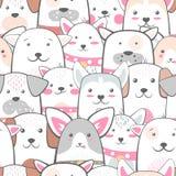 Zwierzęta, pies - śliczny, śmieszny wzór ilustracja wektor