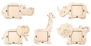 zwierzęta tworzą drewnianego rama obrazek Zdjęcie Stock