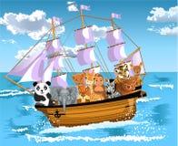 Zwierzęta unosi się na statku ilustracja wektor