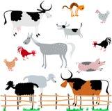 zwierzęta uprawiają ziemię set Obraz Stock