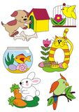Zwierzęta ustawiają, wektorowa ilustracja, domowi zwierzęta domowe Zdjęcia Royalty Free