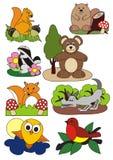 Zwierzęta ustawiają, wektorowa ilustracja, las i outdoors Zdjęcie Royalty Free