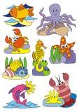 Zwierzęta ustawiają, wektorowi ilustracja, podwodny, morze i ocean Zdjęcia Royalty Free