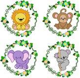 Zwierzęta w wektorze: lew, małpa, słoń, koala Obrazy Royalty Free