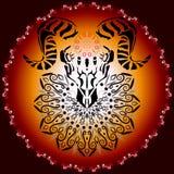 Zwierzęca czaszka z rogami royalty ilustracja
