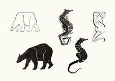 Zwierzęce sylwetki (atrament) Obrazy Stock