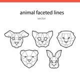 Zwierzęce twarze kreskowy wektor Obrazy Stock