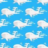 Zwierzę chmurnieje sylwetki nieba kreskówki oceanu wielorybiego bezszwowego deseniowego wektorowego ilustracyjnego abstrakcjonist Zdjęcie Royalty Free