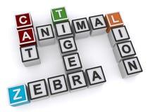 Zwierzęcy crossword Zdjęcie Royalty Free