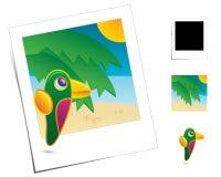 zwierzęcych wakacji papuzia scena royalty ilustracja