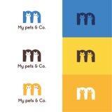 Zwierzę domowe logo z listem M ilustracji
