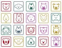 Zwierzę kolorowe ikony Obrazy Stock