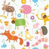 zwierząt dzieciaków wzór bezszwowy Zdjęcie Royalty Free