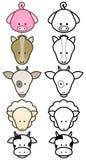 zwierząt kreskówki projekta gospodarstwa rolnego setu wektor Zdjęcia Stock