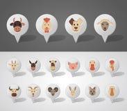 Zwierzęta gospodarskie kartografuje szpilek ikony Obrazy Royalty Free