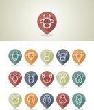 Zwierzęta gospodarskie kartografuje szpilek ikony Obrazy Stock