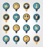 Zwierzęta gospodarskie kartografuje szpilek ikony Zdjęcia Stock