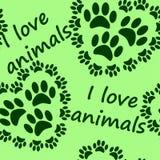 zwierzęta ja kocham deseniowy bezszwowego Fotografia Stock