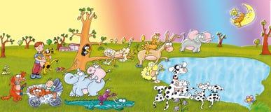 Zwierzęcy park, jezioro, psy i dzieci szczęśliwi, Obrazy Royalty Free