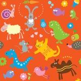 zwierząt dzieciaków wzór bezszwowy Zdjęcia Stock
