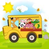 Zwierzęta na autobusie Obrazy Stock
