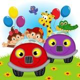 Zwierzęta podróżuje w samochodach Zdjęcia Stock