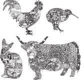 Zwierzęta w etnicznych ornamentach Obraz Stock