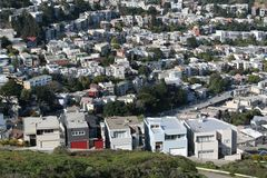 Zwilling ragt San Francisco empor Stockfoto