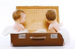 Zwillinge, die in einem Koffer hat Spaß sitzen Lizenzfreies Stockfoto
