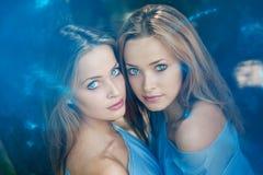 Zwillinge im Wald Stockfotos