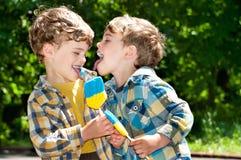 Zwillingsbrüder necken sich mit den Zungen Stockbild