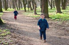 Zwillingsbrüder auf einem Waldweg Stockbild